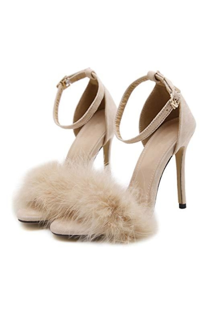 YIBLBOX Fluffy Feather Open Toe Sandal