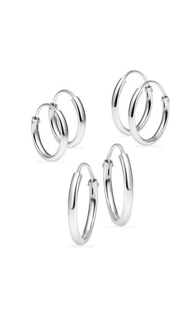 3 Pairs Sterling Silver Hoop Earrings