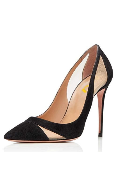 FSJ Mesh Pointed Toe Stiletto Pumps