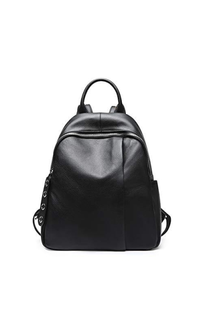Heshe Black Leather Backpack