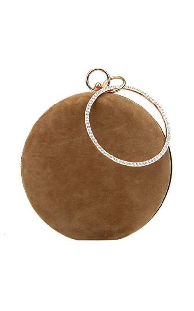 Fawziya Velvet Clutch Round Evening Bag