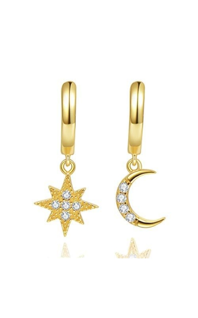 Star Moon Huggie Hoop Earrings