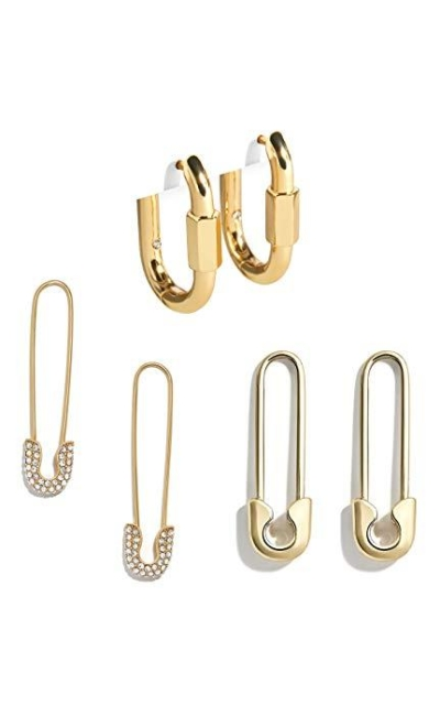 14K Gold Plated Hoops Safety Pins Earrings Set