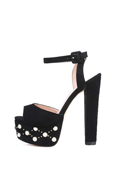 Onlymaker Pearl Embellishment Block Chunky Heels Party Shoes
