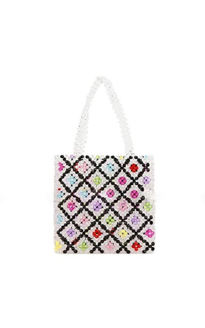Pearls Bag Beaded Flower Acrylic Totes