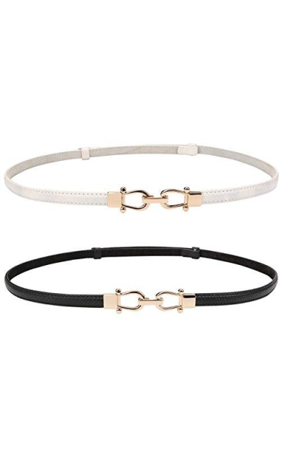 Leather Skinny Belt with Interlocking Buckle 2 Pack
