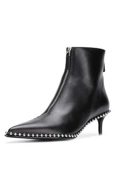 XYD Studded Pointy Toe Booties