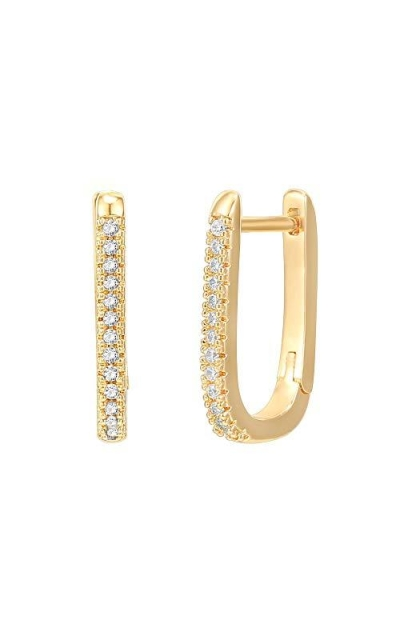 PAVOI 14K Gold Plated 925 Sterling Silver Cubic Zirconia U-Shaped Huggie Earrings