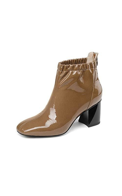 Nine Seven Patent Leather Square Toe Ankle Boots