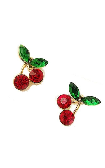 18K Gold Plated Cherry Stud Earrings