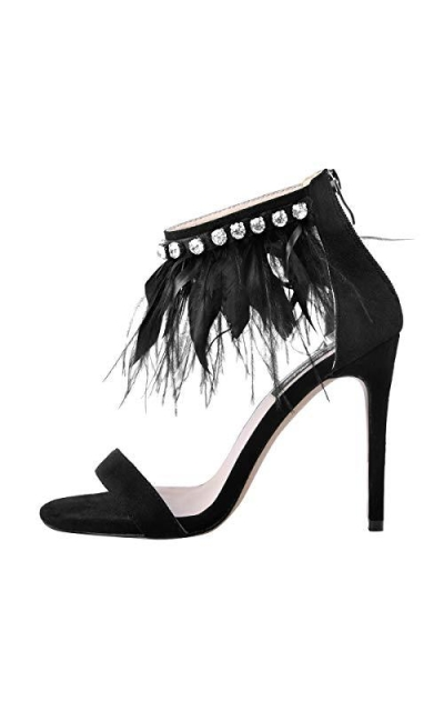 onlymaker Feather Ankle Strap Rhinestone Stiletto Sandal