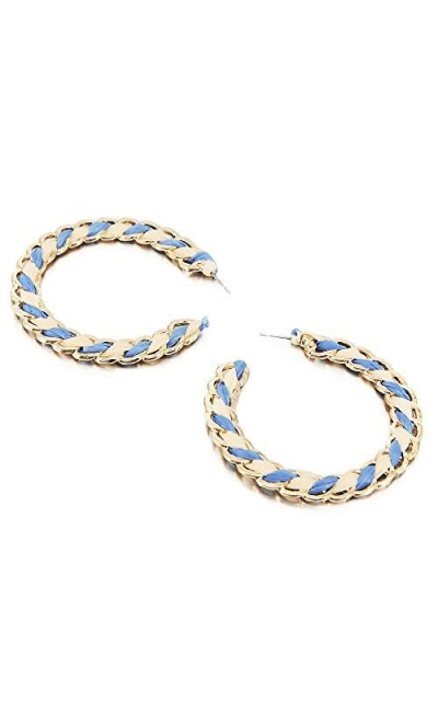 Blue Raffia Hoop Earrings