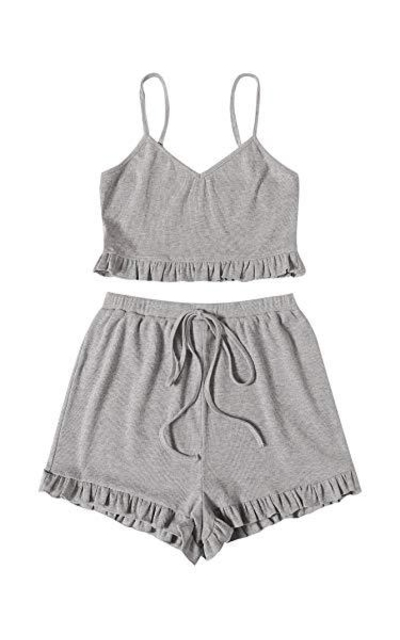 WDIRARA Sleep Cami Top and Drawstring Shorts Pajama Set