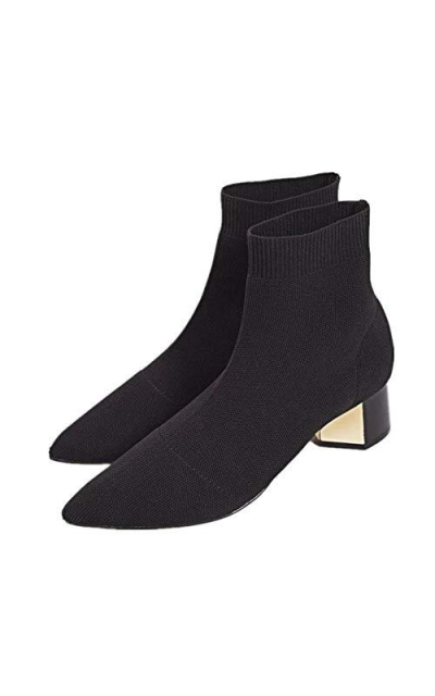 chegong Black Knit Chunky Heel Sock Boots