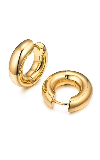 14K Gold Plated Chunky Tiny Hoop Earrings