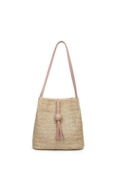 QZUnique Straw Woven Tassel Shoulder Bag