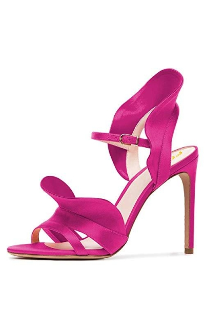 FSJ Satin Sandals with Ruffles