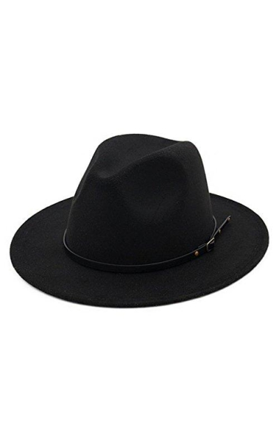 Lisianthus Women Belt Buckle Fedora Hat Black