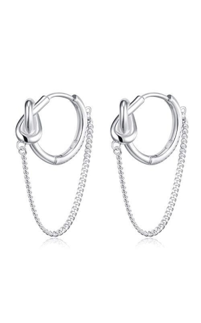 HUIMEI Sterling Silver Twisted Chain Hoop Earrings
