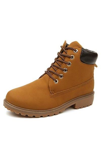 DADAWEN Combat Boots Waterproof Ankle Bootie