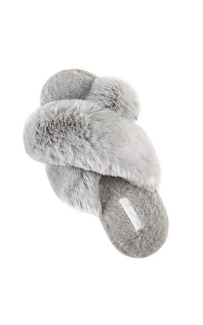 Cross Band Soft Plush Slippers