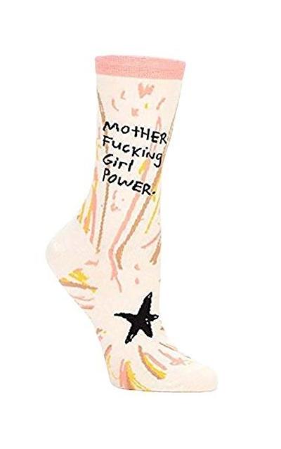 Blue Q Sock Mother F*cking Girl Power Crew Socks