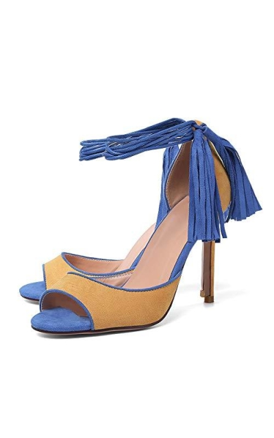 Fringed Lace-up Sandals