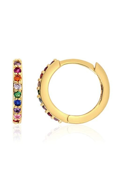 KISPER 18k Gold Plated Colorful Cubic Zirconia Cuff Stud Earrings