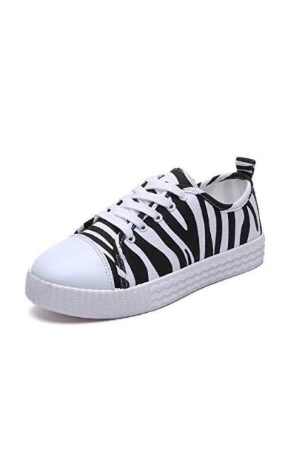 Zebra Print Canvas Sneakers