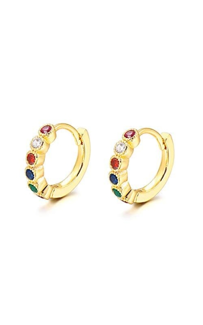 SKYFUN Rainbow Cubic Zirconia Huggie Earrings