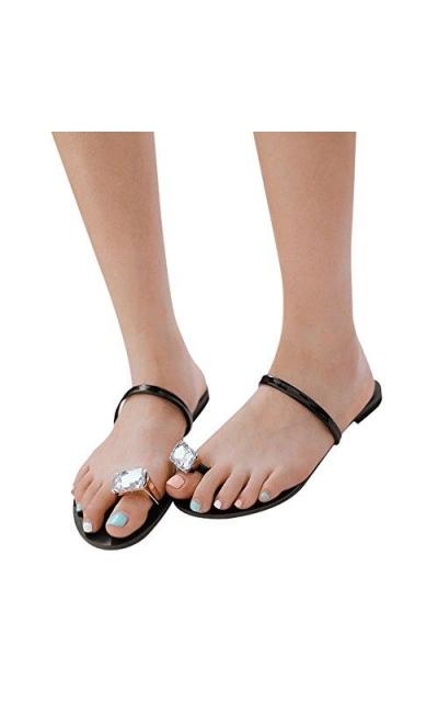 Fheaven Rhinestone Toe Ring Flip Flop