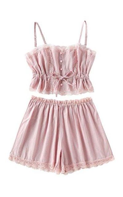SheIn Lace Cami and Shorts Pajamas Set