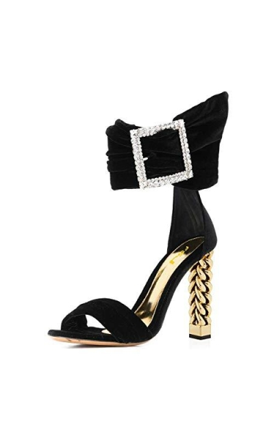 FSJ Formal Gold Metal Chain Sandals