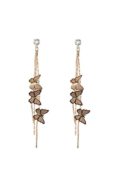 Butterfly Earrings with Chain