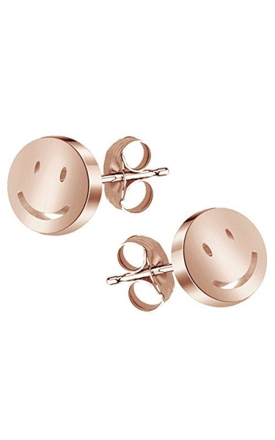 14K Rose Gold Smiley Face Stud Earrings