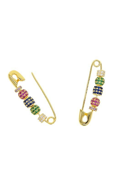 ATJMLADYJEWELRY Gold Plated Moving Colorful Disco Safety Pin Earrings