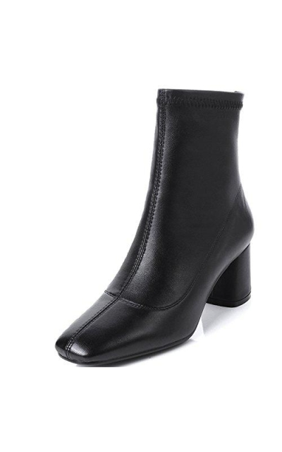 Nine Seven Genuine Leather Square Toe Chunky Heel  Booties