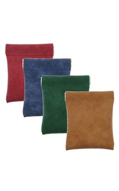 Pack of 4 Faux Leather Squeeze Coin Purses