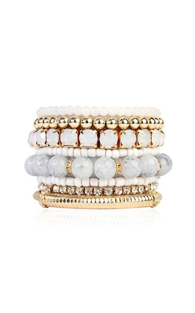Multi Color Stretch Beaded Stackable Bracelets