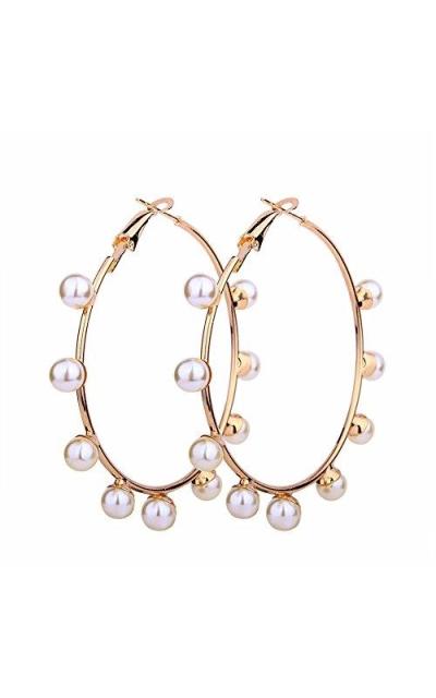 JczR.Y Big Simulated Pearl Hoop Earrings