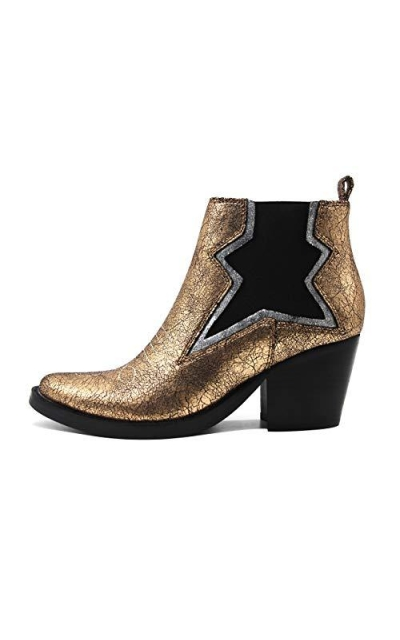 DESIGN SOLUTIONS Gold Leather Ankle Boots