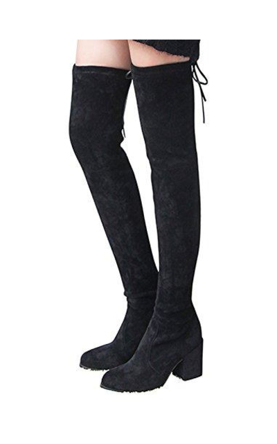 040909335f6 Kaitlyn Pan Block Heel microsuede slim fit over the knee boots