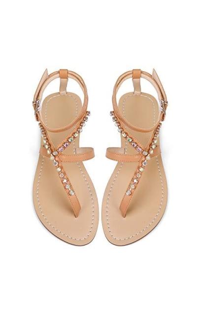 Luticessy Gladiator Rhinestone Flat Sandals