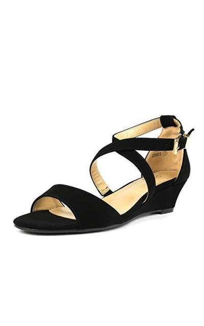 DREAM PAIRS Jones Black Nubuck Low Wedge Sandals