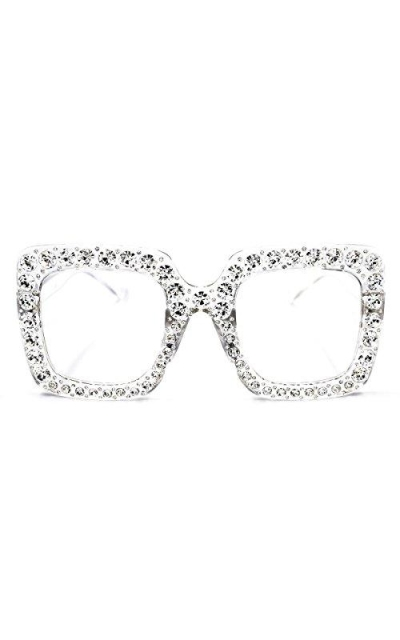SamuRita Elton Square Diamond Rhinestone Sunglasses