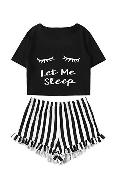 WDIRARA Closed Eyes Print Tee and Shorts Pajama Set