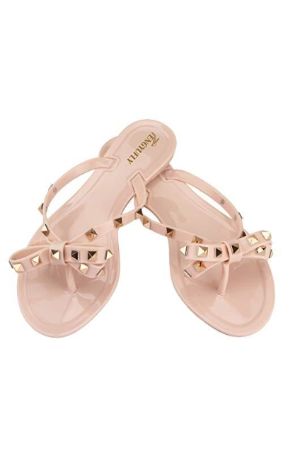 TENGYUFLY Rivets Bowtie Jelly Thong Sandals