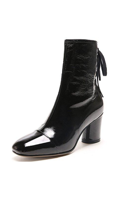 Nine Seven Square Toe  Patent Boots