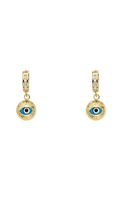 14k Yellow Gold Evil Eye Dangle Huggie Earring
