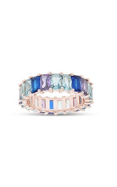 AFFY 18K Rose Gold Plated Emerald-Cut Rainbow Ring